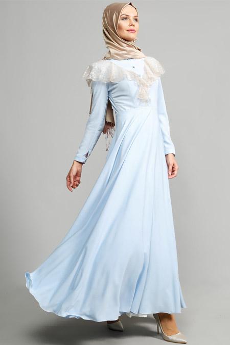 ULVİYE PORTAKAL Buz Mavisi Dantel Detaylı Elbise