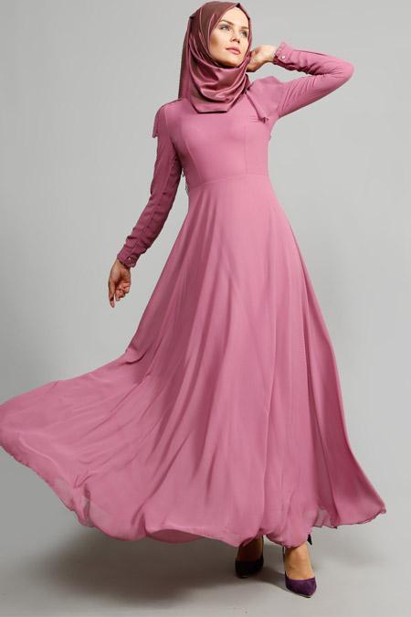ULVİYE PORTAKAL Gül Kurusu Fırfır Detaylı Elbise