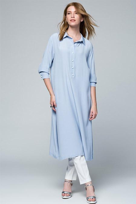 Vavist Lila Uzun Tunik Elbise