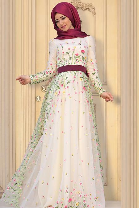 Zehrace Ekru Valeriya Abiye Elbise