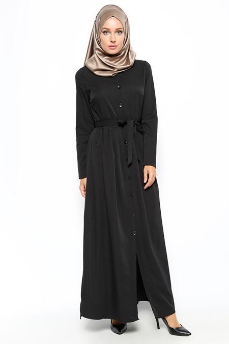Beha Tesettür Siyah Düğmeli Uzun Tunik