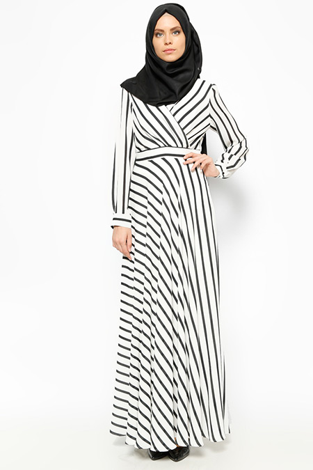 Eva Fashion Beyaz Çizgili Elbise