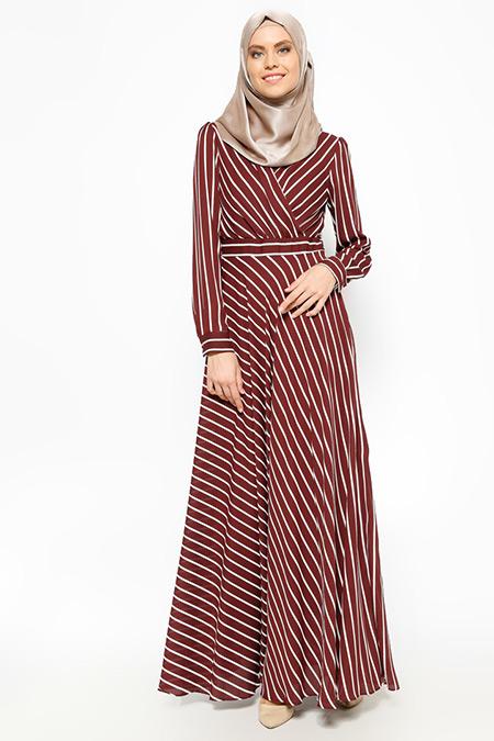Eva Fashion Bordo Çizgili Elbise