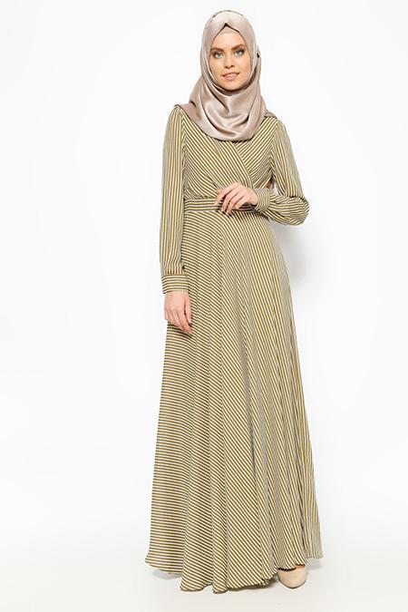 Eva Fashion Haki Çizgili Elbise