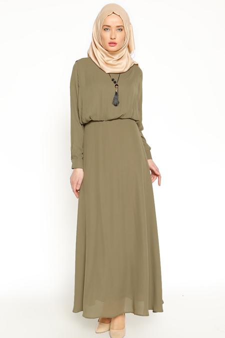Eva Fashion Haki Kolyeli Elbise