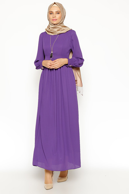 Eva Fashion Mor Kolyeli Elbise