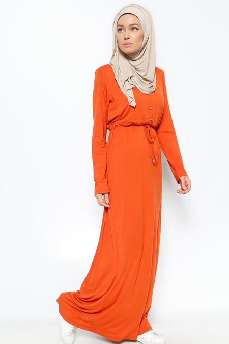 Everyday Basic Kiremit Düğme Detaylı Elbise