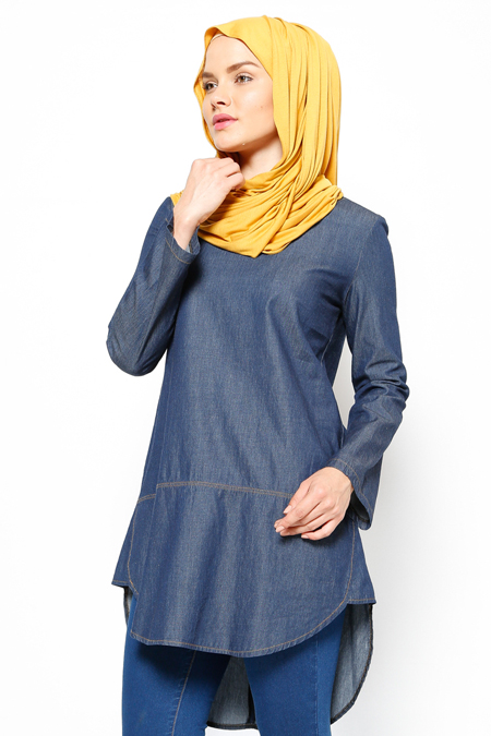 Everyday Basic Lacivert Denim Tunik