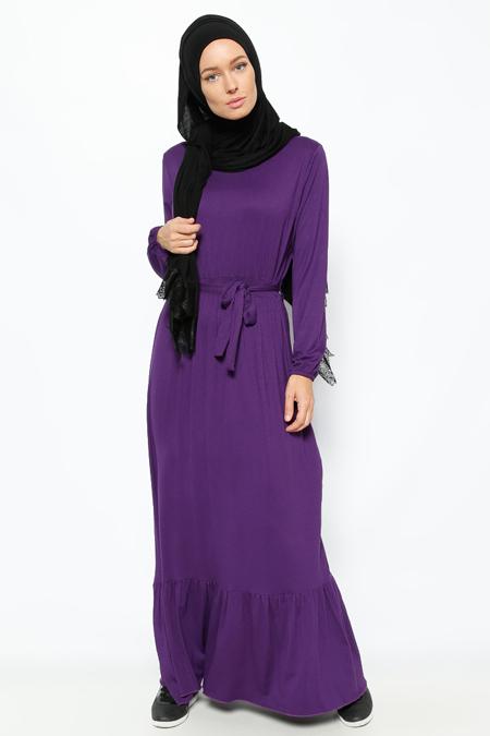 Everyday Basic Mor Eteği Fırfırlı Elbise