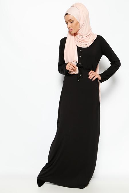 Everyday Basic Siyah Düğme Detaylı Elbise