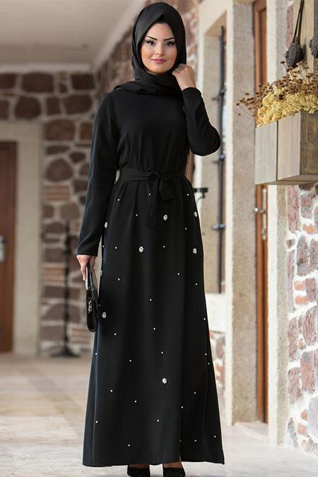 Gizem Kış Siyah İncili Ferace Elbise
