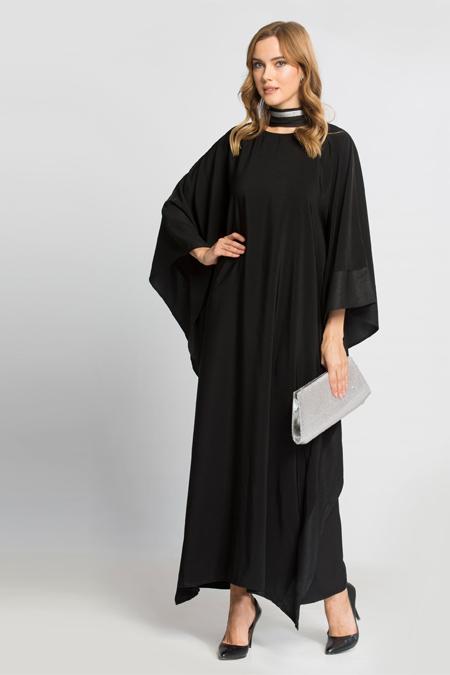 LC Waikiki Siyah Düz Uzun Kollu Uzun Elbise