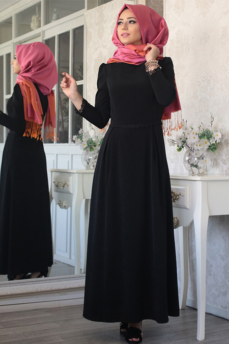 LefZen Siyah Hale Elbise