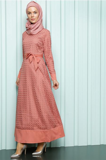 Luvice Gül Kurusu Kuşak Detaylı Elbise