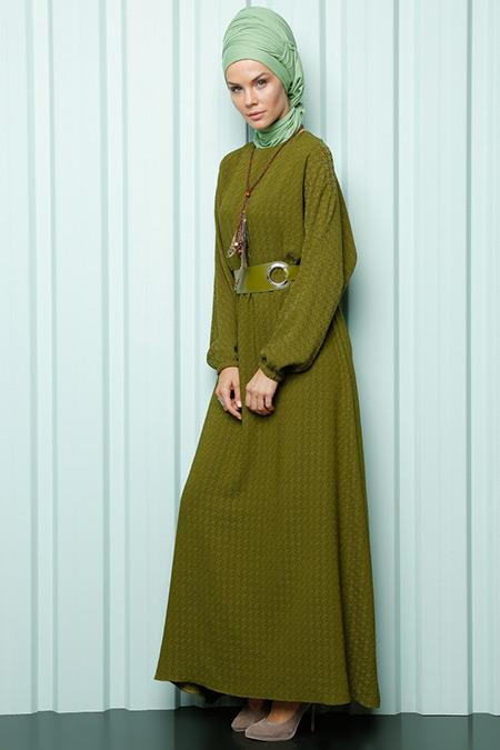 Luvice Haki Naturel Kumaş Kemerli Elbise