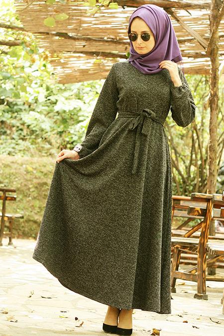 Melek Aydın Antrasit Karyağdı Elbise