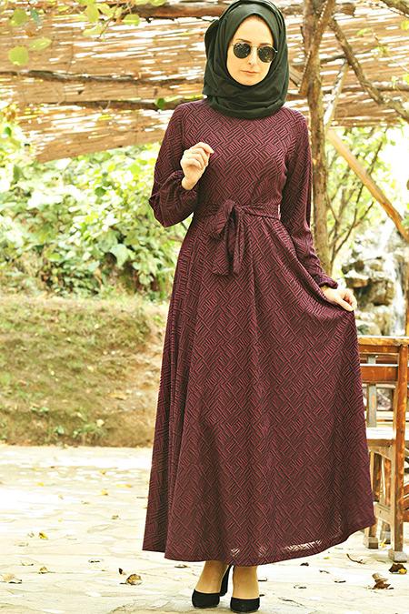 Melek Aydın Mürdüm Karyağdı Elbise