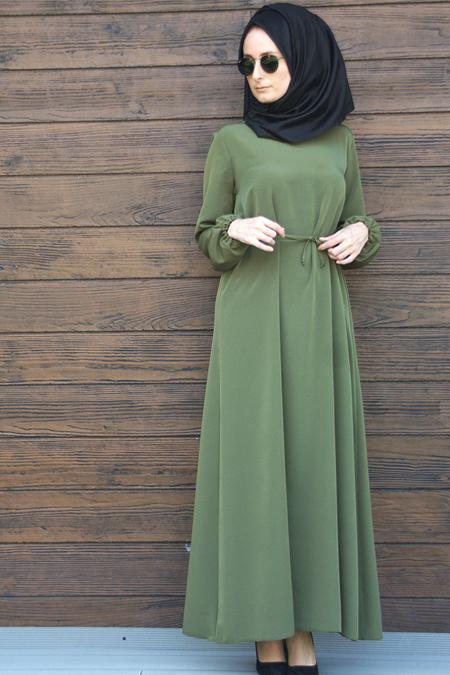 Melek Aydın Haki Beli Büzgülü Elbise