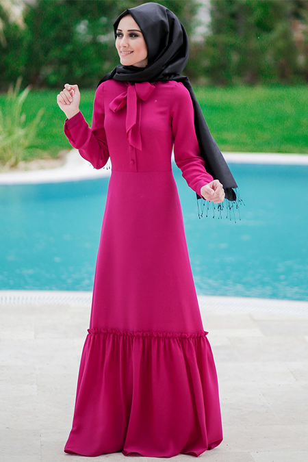 Minel Aşk Fuşya Carmen Elbise