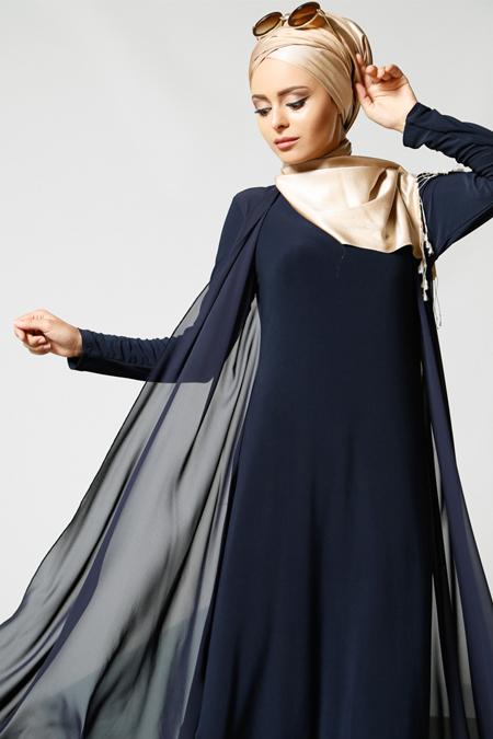 Refka Lacivert Şifon Parçalı Elbise