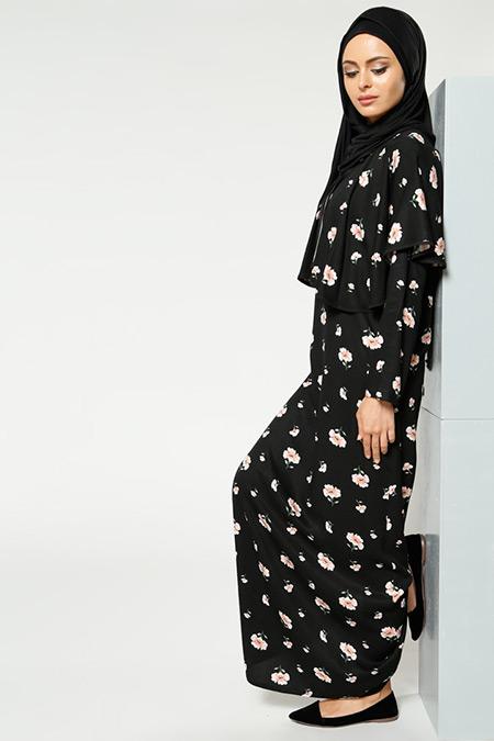 Refka Siyah Naturel Kumaşlı Çiçekli Elbise