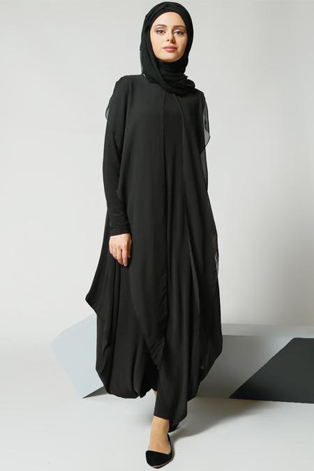 Refka Siyah Şifon Parçalı Tunik