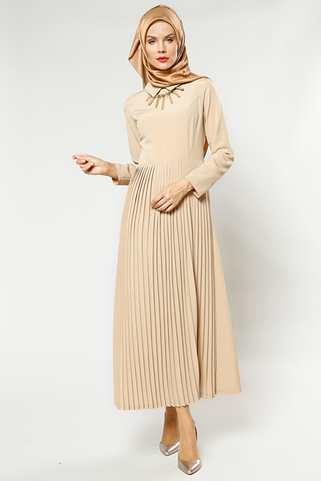 Refka Women Bej Kolyeli Elbise