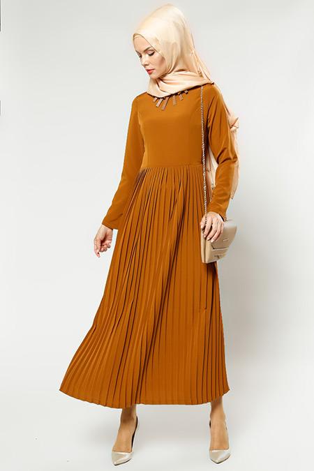 Refka Women Camel Kolyeli Elbise