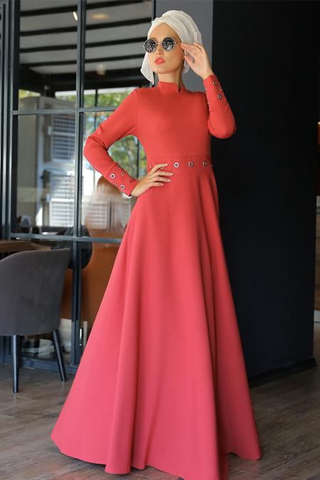 Selma Sarı Design Kiremit Kuş Gözlü Elbise