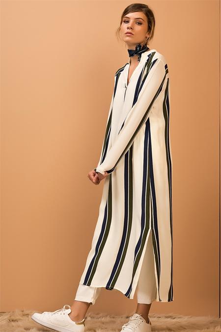 Vavist Haki Lacivert Çizgili Tunik Elbise