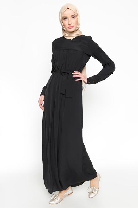 Zamane S.Ç Siyah Drape Detaylı Elbise