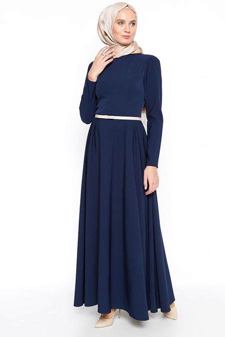 Azra Özer Lacivert Sara Elbise