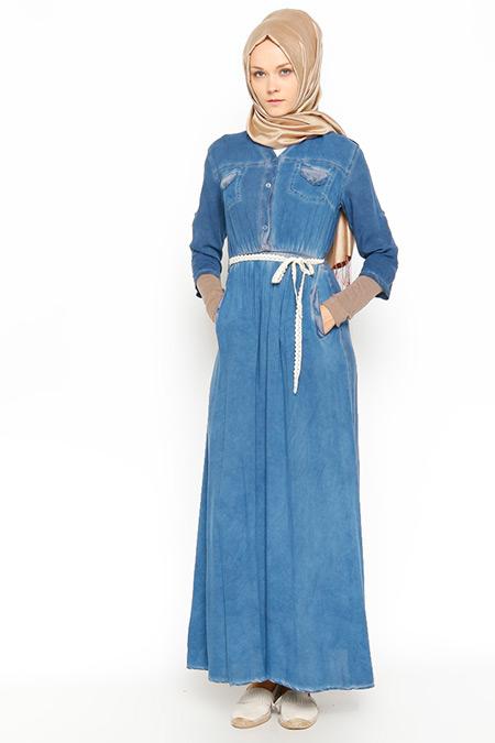 BÜRÜN Mavi Beli Büzgülü Elbise