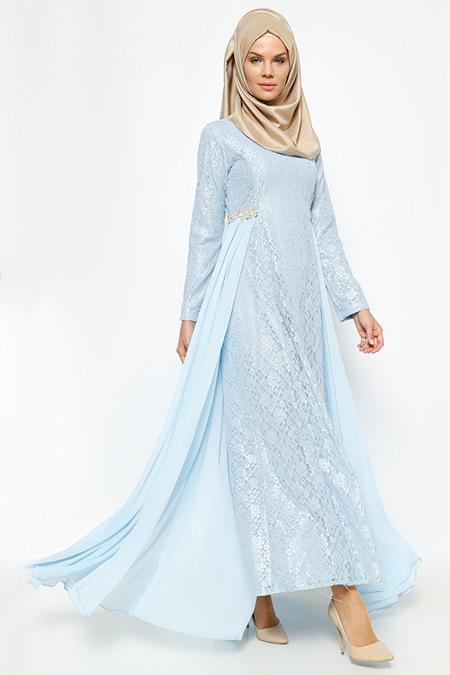 Bürün Mavi Dantelli Abiye Elbise