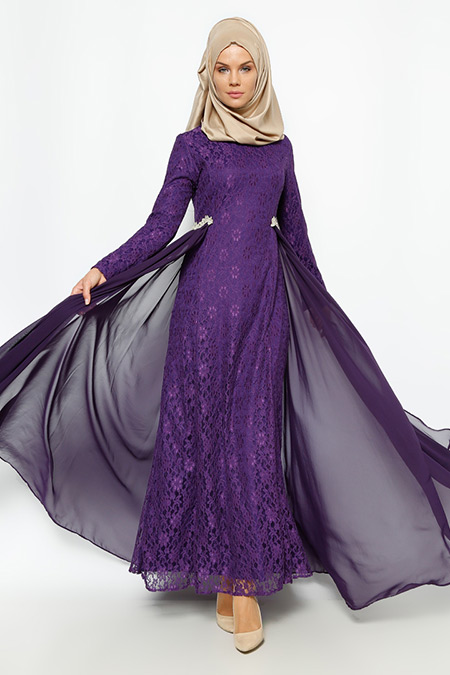 Bürün Mor Dantelli Abiye Elbise