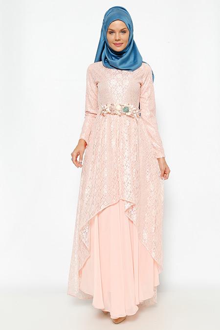 6155bb11e09d5 Bürün Pudra Dantel Detaylı Abiye Elbise Online Satış, İndirimli Satın Al