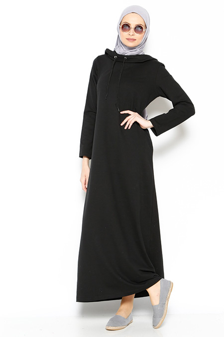 Bwest Siyah Kapüşonlu Elbise