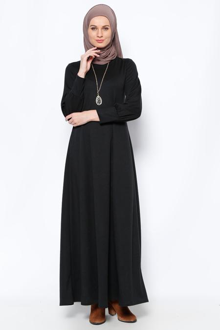Elit Butik Siyah Kolyeli Elbise