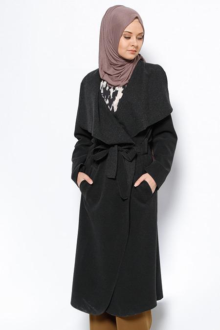 Eva Fashion Antrasit Şal Yaka Kaban