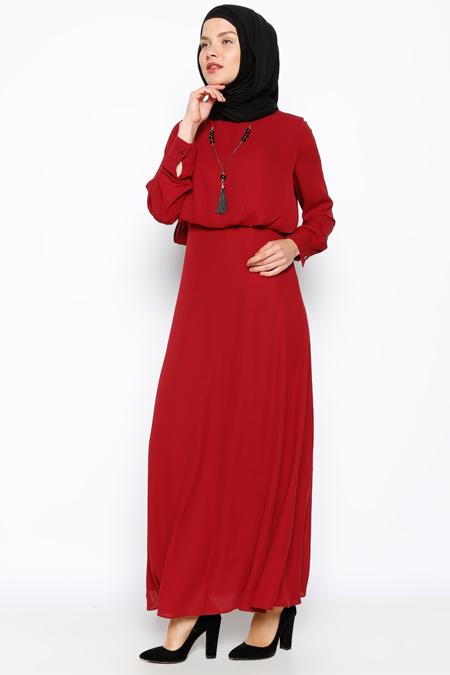Eva Fashion Bordo Kolyeli Elbise