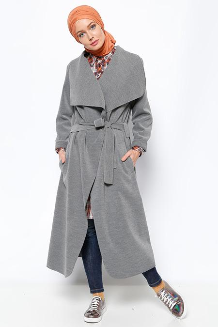 Eva Fashion Gri Şal Yaka Kaban