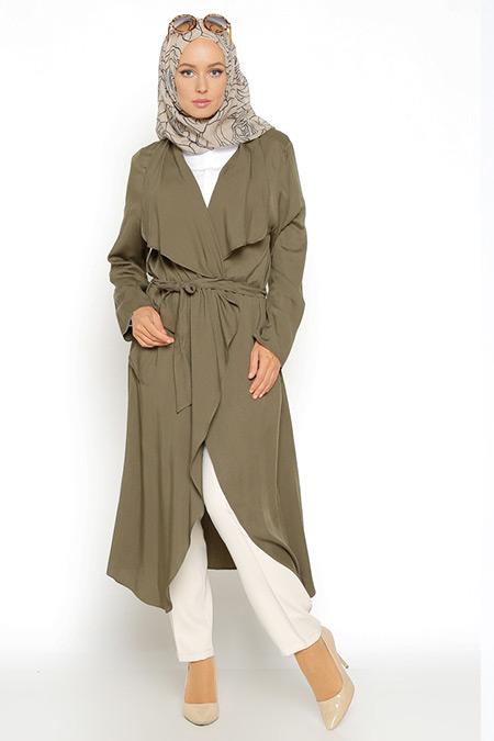 Eva Fashion Haki Şal Yaka Ceket