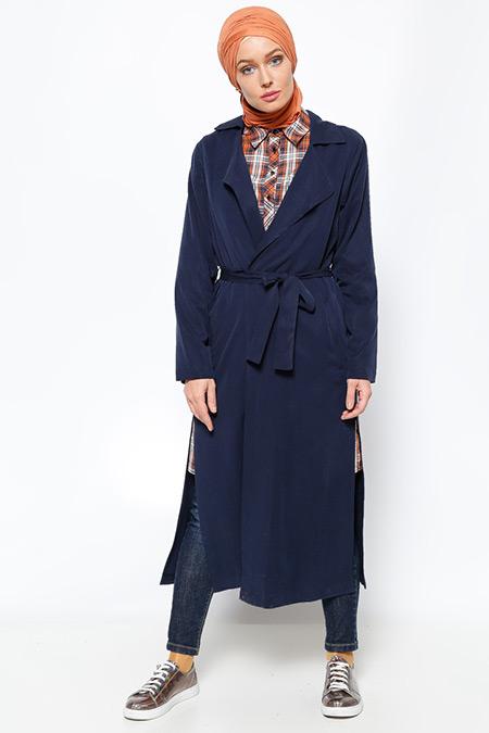 Eva Fashion Lacivert Şal Yaka Trençkot