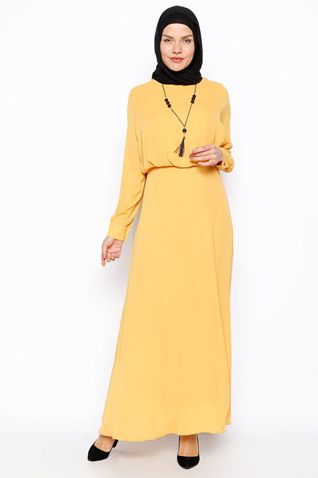 Eva Fashion Safran Kolyeli Elbise