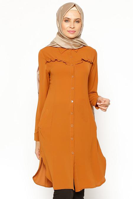 Eva Fashion Taba Fırfır Detaylı Tunik
