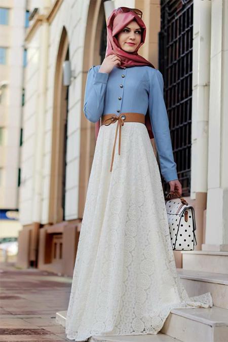 Gamze Polat Ekru Mavi Eteği Dantelli Kot Elbise