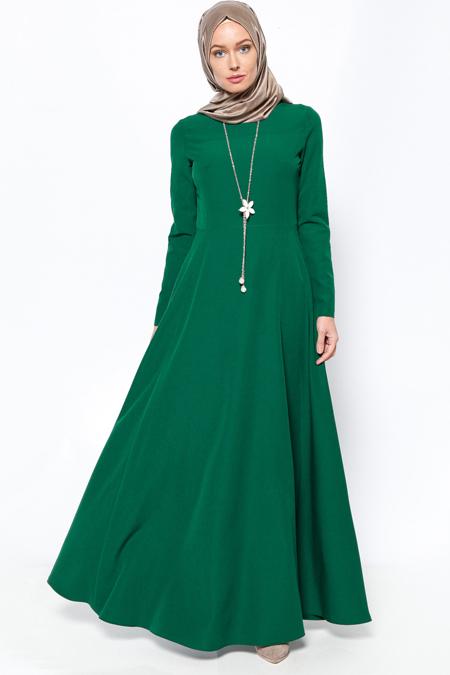 Jamila Yeşil Kolyeli Elbise