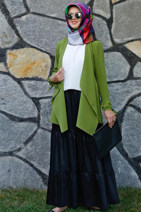 Kübra Biriktir Yeşil Şal Yaka Ceket