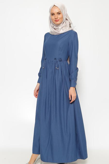 LOREEN İndigo Pileli Elbise