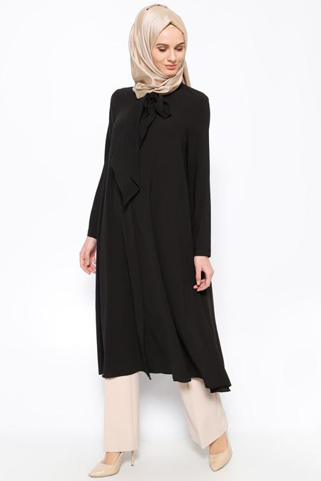 LOREEN Siyah Fularlı Tunik